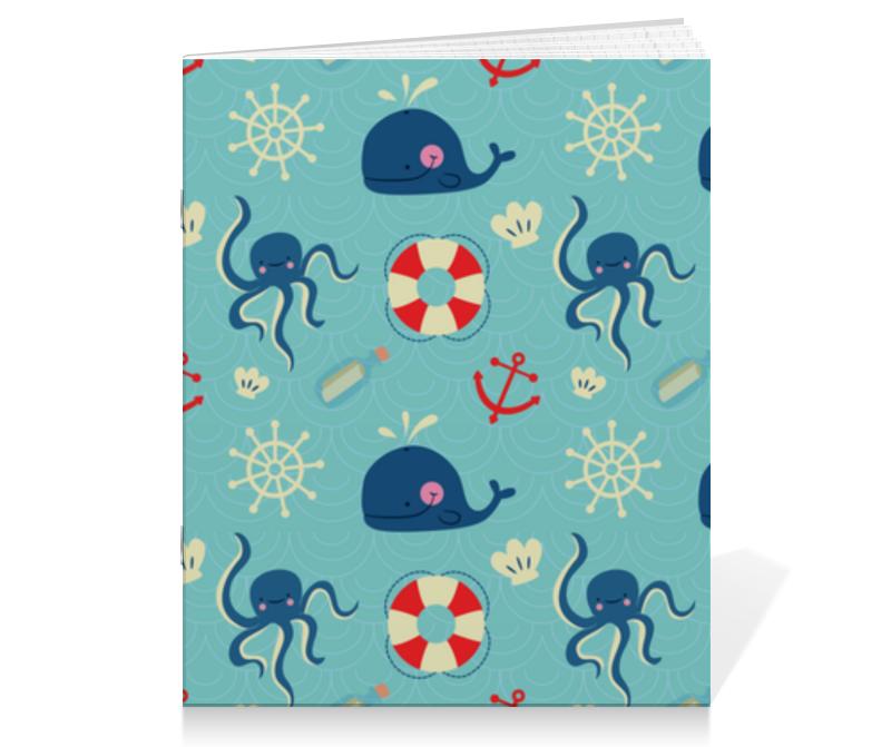 Тетрадь на скрепке Printio Морские обитатели zhorya обучающая книга для детей на бат умный я морские обитатели с маркером 26x19x2см арт zye e0109