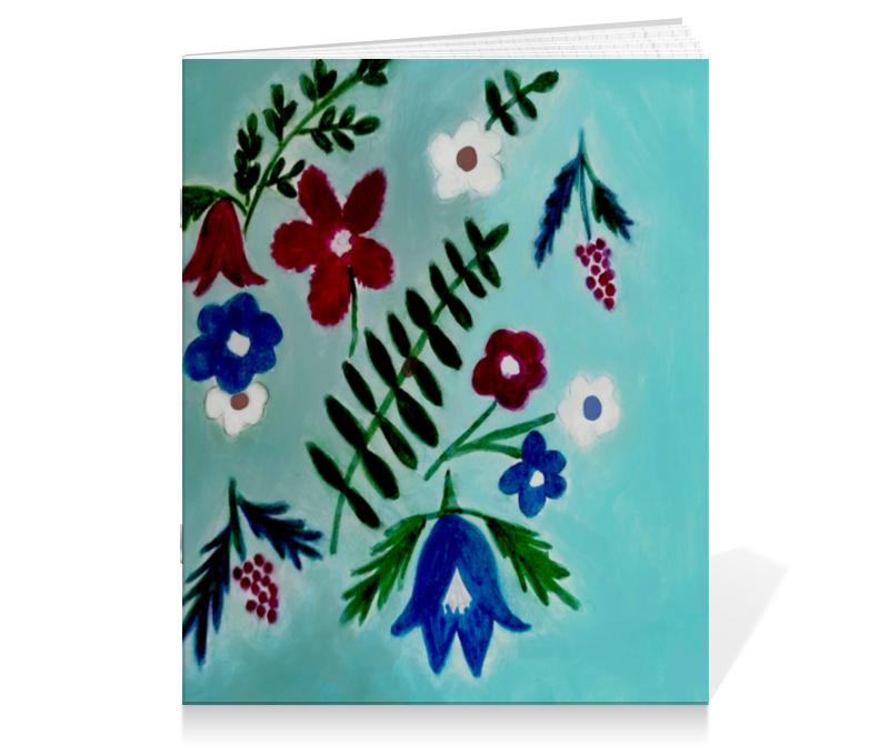 Тетрадь на скрепке Printio Цветы на голубом цветы гранд флора gf k09