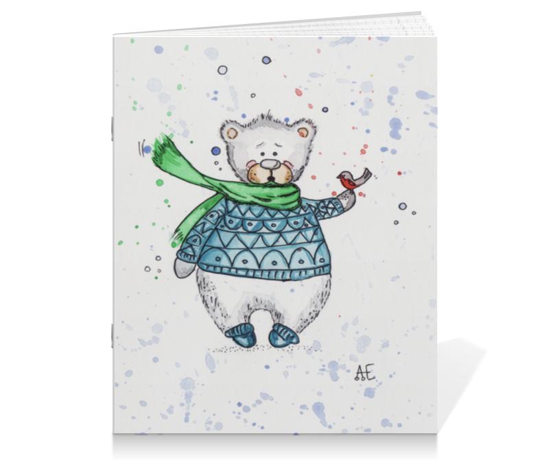 Тетрадь на скрепке Printio Белый мишка тетрадь на скрепке printio медведь