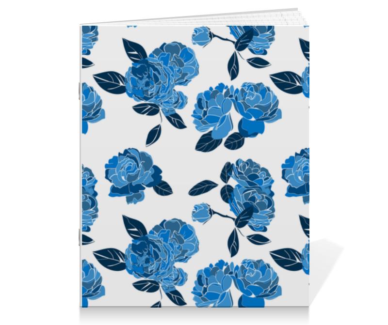 Тетрадь на скрепке Printio Букет синих роз тетрадь на скрепке printio медведь