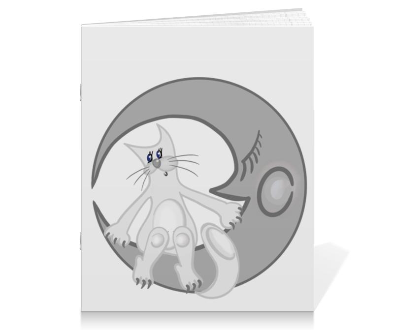 Тетрадь на скрепке Printio Лунный кот сидит на луне цены