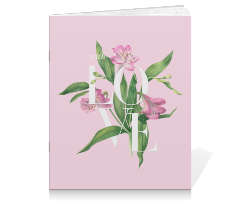 Тетрадь на скрепке Printio With love блокнот кофемана нежные цветы