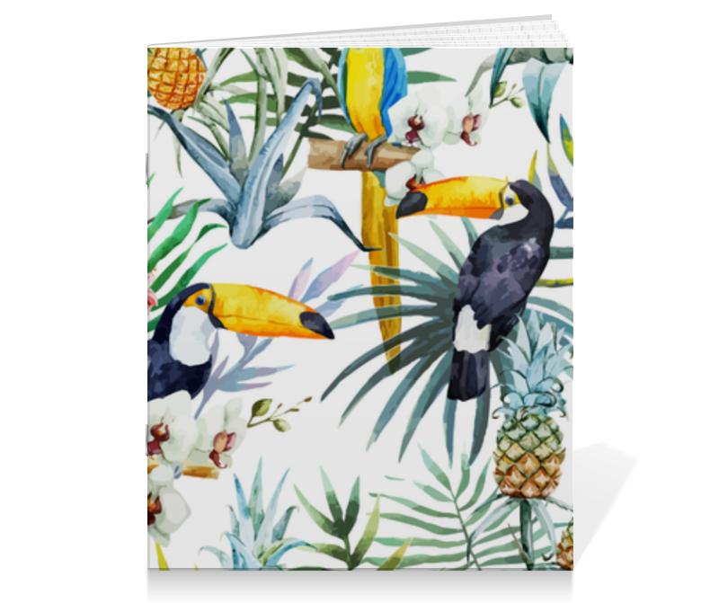 Тетрадь на скрепке Printio Тропические птицы