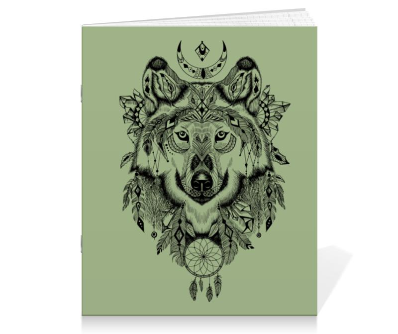 цены Тетрадь на скрепке Printio Тотем. волк