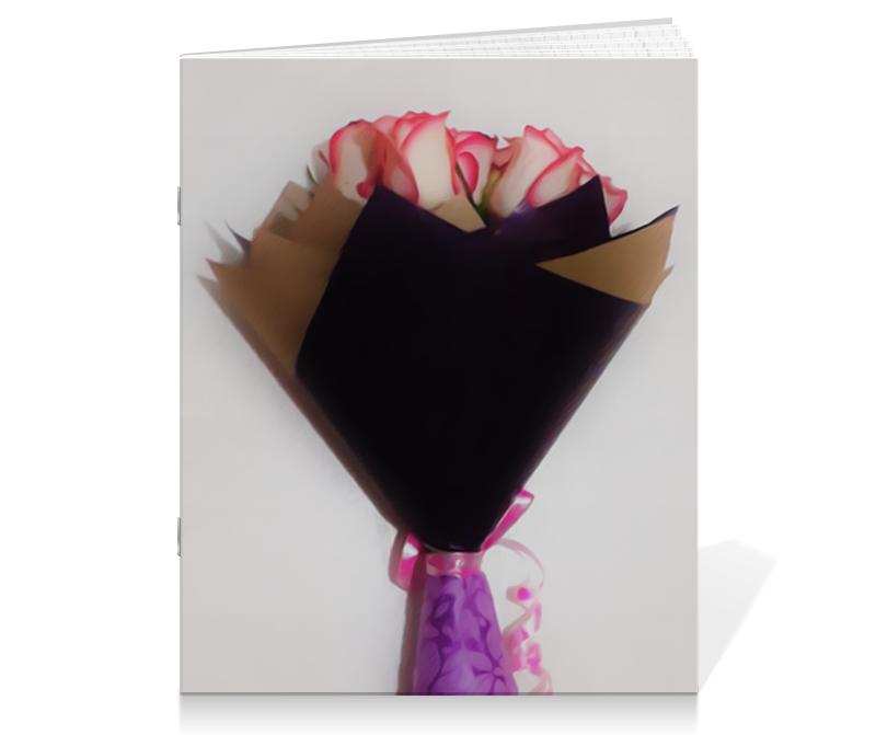Тетрадь на скрепке Printio Розовые розы