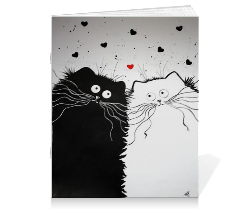 Тетрадь на скрепке Printio Кот и кошка тетрадь на скрепке printio якорь и пионы