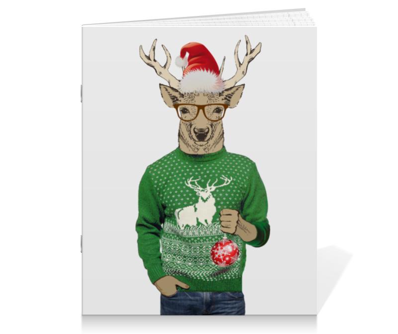 Тетрадь на скрепке Printio Олень новогодний в свитере и очках с шариком тетрадь на скрепке printio новогодний медведь