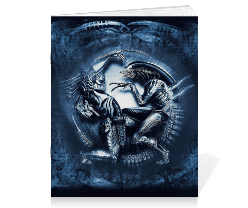 Тетрадь на скрепке Printio Чужой против хищника / alien vs predator saintgi avp predator 2 alien colonial marines hunter primevil the pvc movie game cute action figure collection gifts toys neca