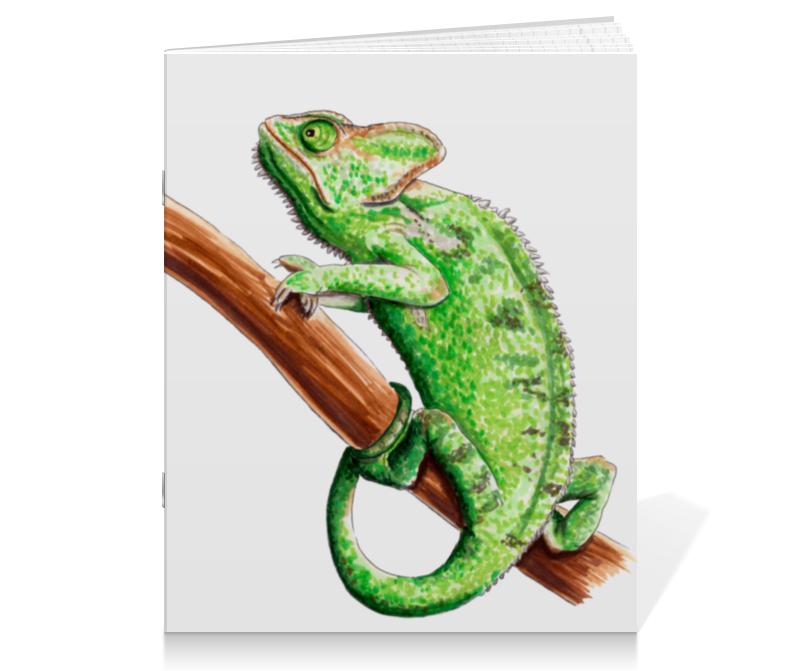 Тетрадь на скрепке Printio Зеленый хамелеон на ветке тетрадь на скрепке printio медведь