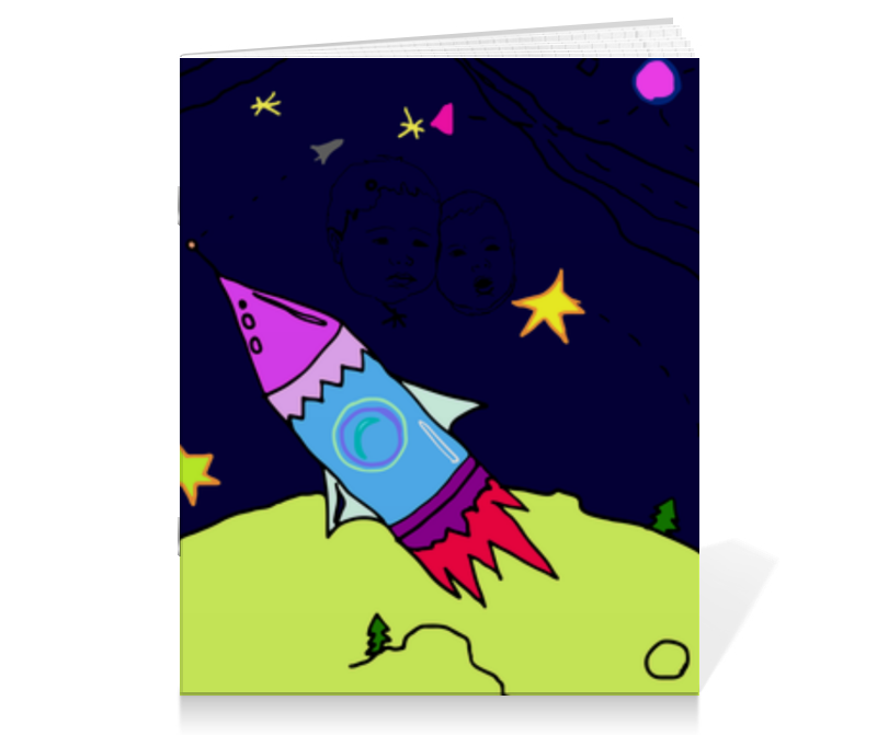 Тетрадь на скрепке Printio Ракета в космосе playmobil космическая миссия космическая ракета с базовой станцией