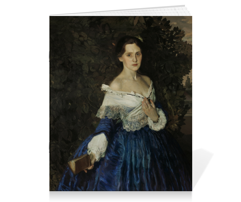 Тетрадь на скрепке Printio Дама в голубом (картина сомова) чехол для iphone 6 глянцевый printio дама в голубом картина сомова