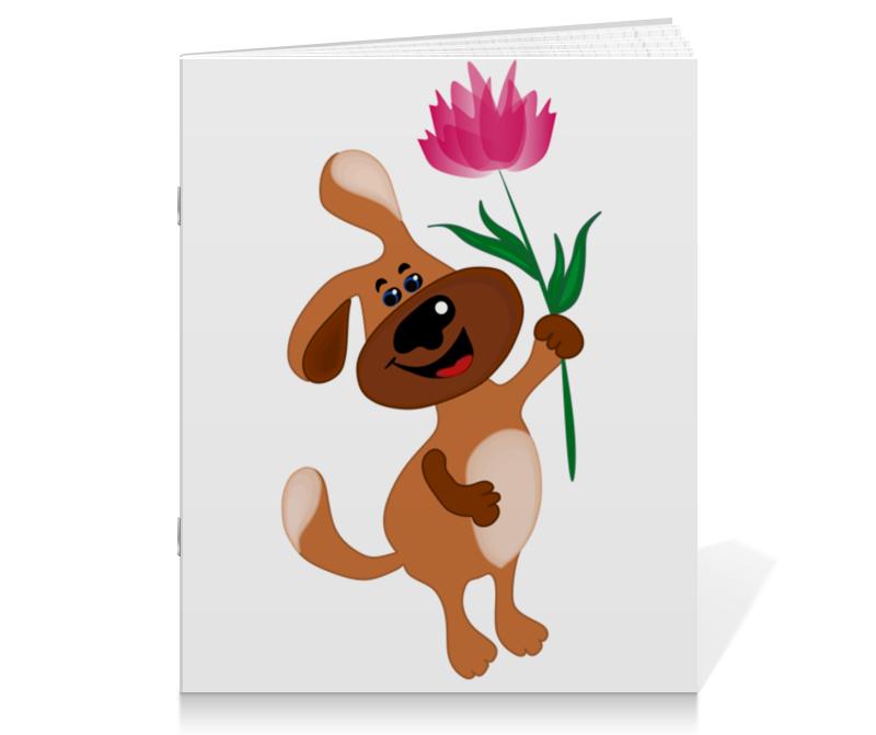 Тетрадь на скрепке Printio Пес держит в лапе цветочек