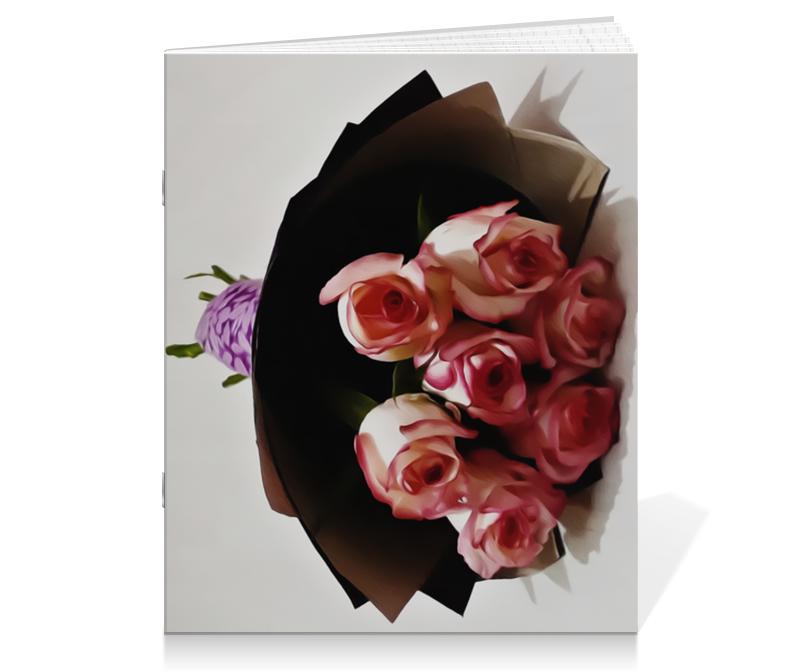 Тетрадь на скрепке Printio Розовые розы невидимка для волос funny bunny розовые цветы 2 шт