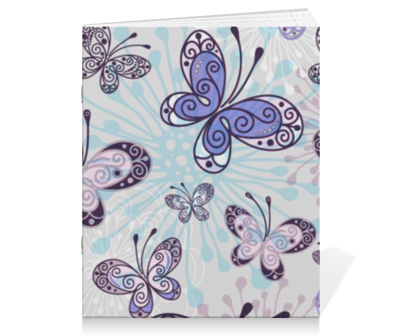 Тетрадь на скрепке Printio Фиолетовые бабочки