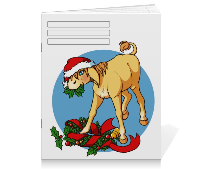 Тетрадь на скрепке Printio Новогодний ослик тетрадь на скрепке printio новогодний медведь