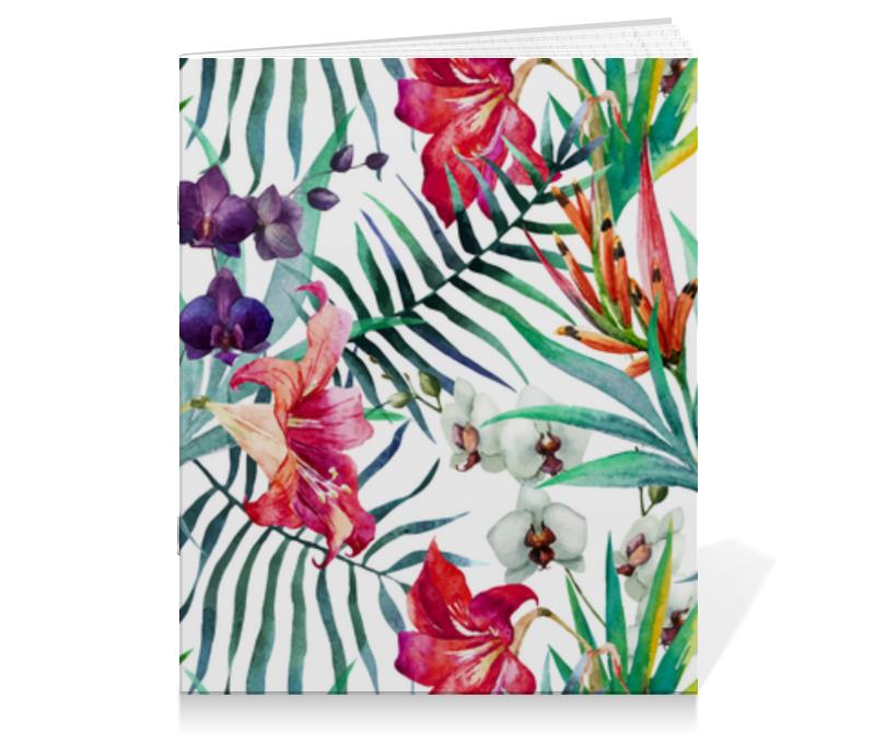 Тетрадь на скрепке Printio Тропические цветы тетрадь на скрепке printio медведь