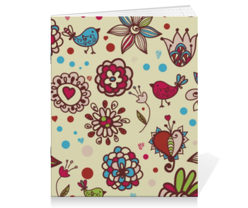Тетрадь на скрепке Printio Цветы с птичками тетрадь на скрепке printio медведь