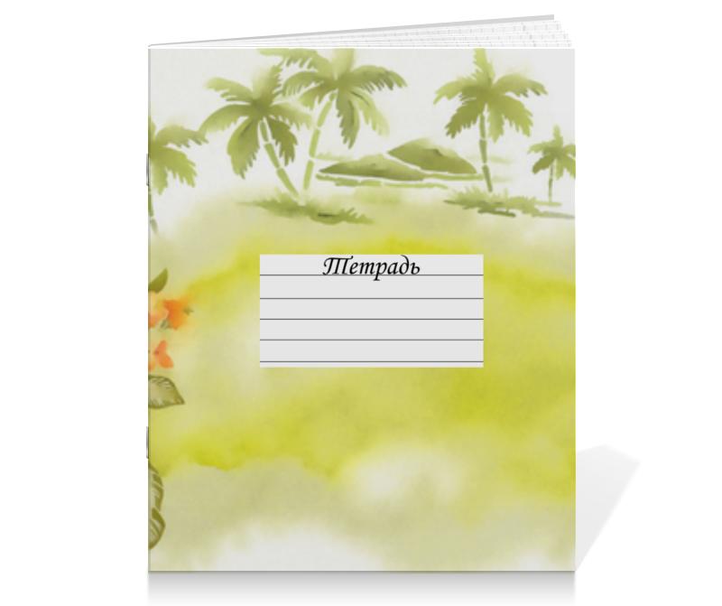 Тетрадь на скрепке Printio Тропические цветы, пальмы.