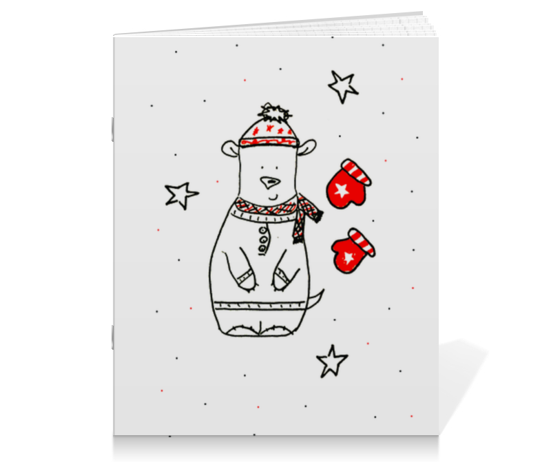 Тетрадь на скрепке Printio Новогодний медведь тетрадь на скрепке printio новогодний медведь