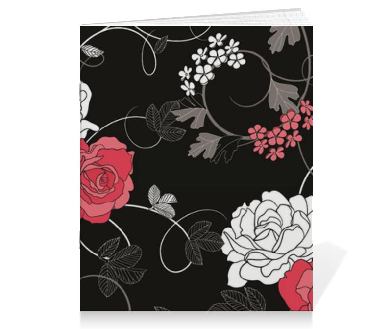 Тетрадь на скрепке Printio Красная и белая розы платье без рукавов printio розы на чёрном