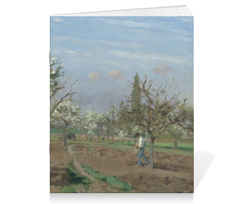 Тетрадь на скрепке Printio Фруктовый сад в цвету (картина писсарро) цена