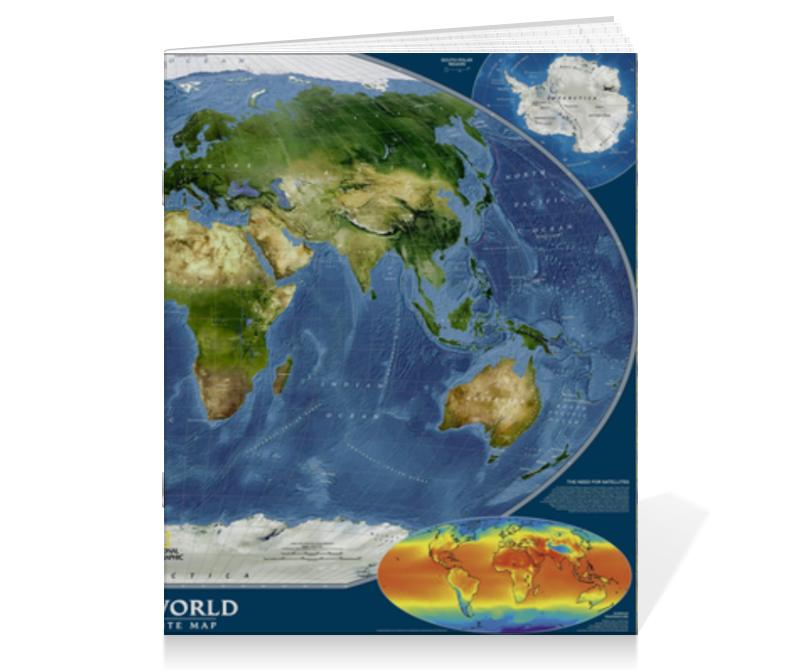 Тетрадь на скрепке Printio Карта мира детская карта мира