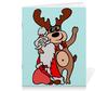 """Тетрадь на скрепке """"Дед мороз с оленем"""" - праздник, новый год, радость, дед мороз, олень"""
