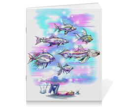 """Тетрадь на скрепке """"Underwater"""" - подводный мир, рыбы, фэнтези, фантазия, волшебный мир"""