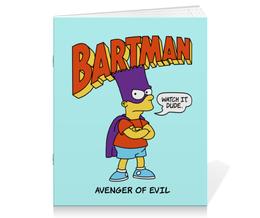 """Тетрадь на скрепке """"Бартмен"""" - прикольные, супергерои, симпсоны, барт симпсон, бартмен"""