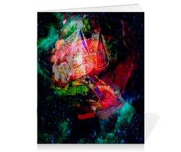 """Тетрадь на скрепке """"Галактическая избенка"""" - коллаж, яркий, домики, акваоель, фантазийный пейзаж"""