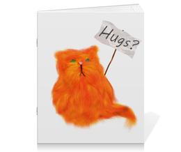 """Тетрадь на скрепке """"Hugs?"""" - кот, cat, рыжий, обнимашки, hugs"""
