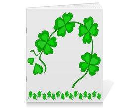 """Тетрадь на скрепке """"День святого Патрика - волшебный четырехлистник"""" - зеленый, паттерн, лист клевера, день святого патрика, четырехлистник"""