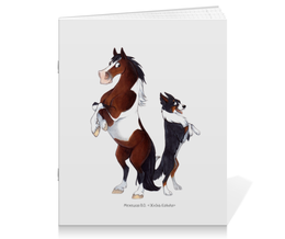"""Тетрадь на скрепке """"Подушка Пегий пони/ Трехцветный бордер-колли"""" - лошадь, собака, бордер-колли"""