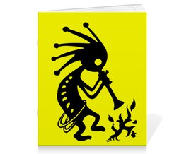 """Тетрадь на скрепке """"Кокопелли"""" - знаки, индейцы, дух, изобилие, плодородие"""