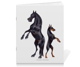 "Тетрадь на скрепке ""Караковый пони/Доберман"" - лошадь, собака, доберман"