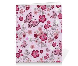 """Тетрадь на скрепке """"Бабочки"""" - бабочки, цветы, розовый фон"""