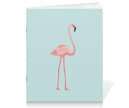 """Тетрадь на скрепке """"Розовый полет"""" - голубой, розовый, фламинго"""