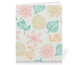 """Тетрадь на скрепке """"Цветочная"""" - цветы, листья, растения, флора"""
