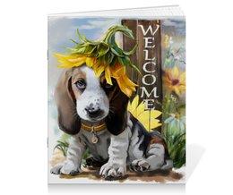 """Тетрадь на скрепке """"Собака"""" - цветок, собака, животное"""
