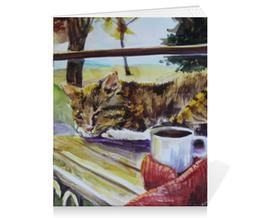 """Тетрадь на скрепке """"Осеннее тепло"""" - кот, осень, чай, осенний парк"""