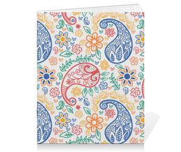 """Тетрадь на скрепке """"Пейсли"""" - цветы, узоры, листья, пейсли, индийский огурец"""