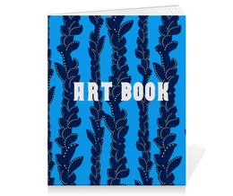 """Тетрадь на скрепке """"Скетчбук"""" - голубой, рисунок, трава, водоросли, линии"""