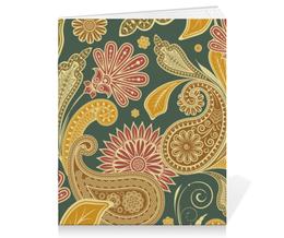 """Тетрадь на скрепке """"Цветочная"""" - арт, цветы, узор, рисунок, орнамент"""