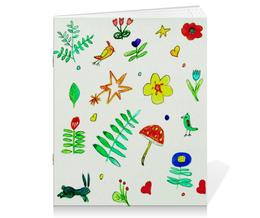 """Тетрадь на скрепке """"Тетрадь Финская тема"""" - цветы, листики, сердечки, птички"""