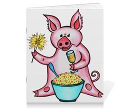 """Тетрадь на скрепке """"Год свиньи"""" - новый год, поросенок, свин, год свиньи, хрюн"""