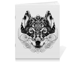 """Тетрадь на скрепке """"Волк Стилизация"""" - арт, волк, волчица, чёрное и белое"""