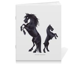 """Тетрадь на скрепке """"Фелл-пони/Ризеншнауцер"""" - лошадь, собака, horse, фриз, ризеншнауцер"""
