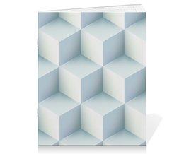 """Тетрадь на скрепке """"Кубическая иллюзия"""" - узор, куб, стильный, абстрактный, иллюзия"""