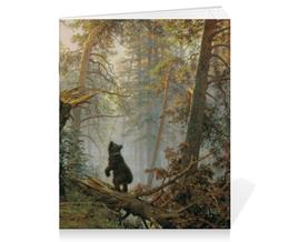 """Тетрадь на скрепке """"Утро в сосновом лесу (Иван Шишкин)"""" - картина, шишкин"""