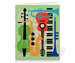 "Тетрадь на скрепке ""Музыкальные инструменты"" - музыка, гитара, скрипка, инструменты, саксафон"
